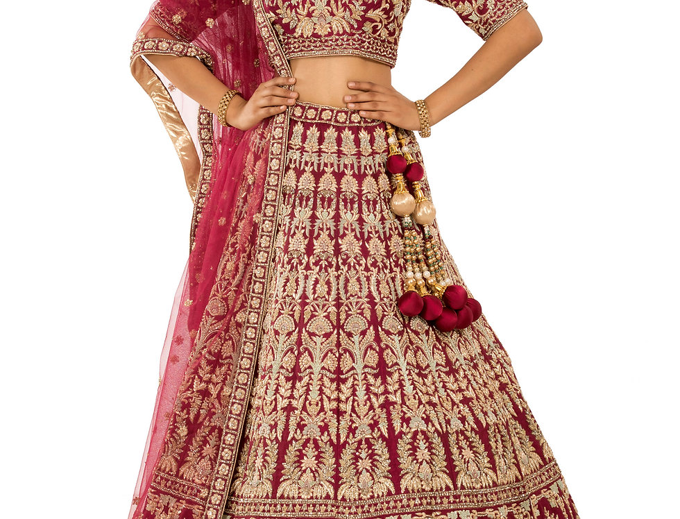 Plum Shade Silk Lehenga with Zardozi Work & Dupatta (Style Code: 2381957)