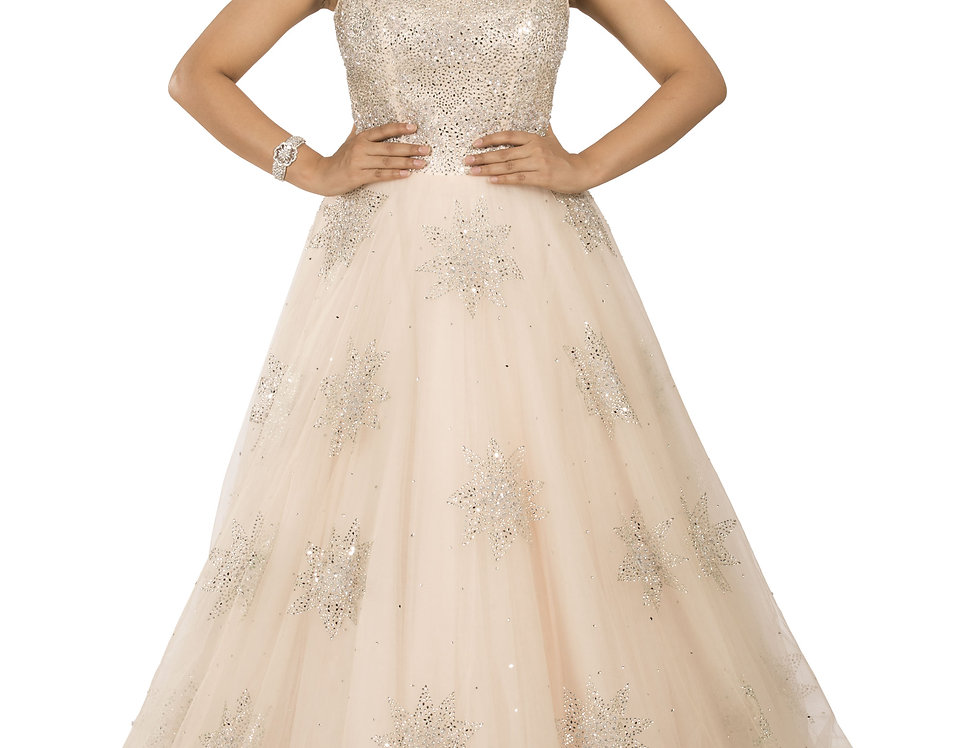 Rose Gold Party Wear Gown with Swarovski work (Style Code: 2366031)