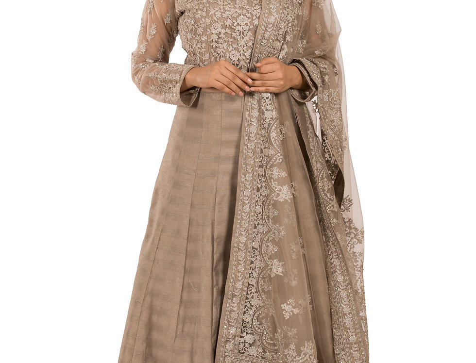 Grey Silk Anarkali Suit with Embroidery Work & Dupatta (Style Code: 2306989)