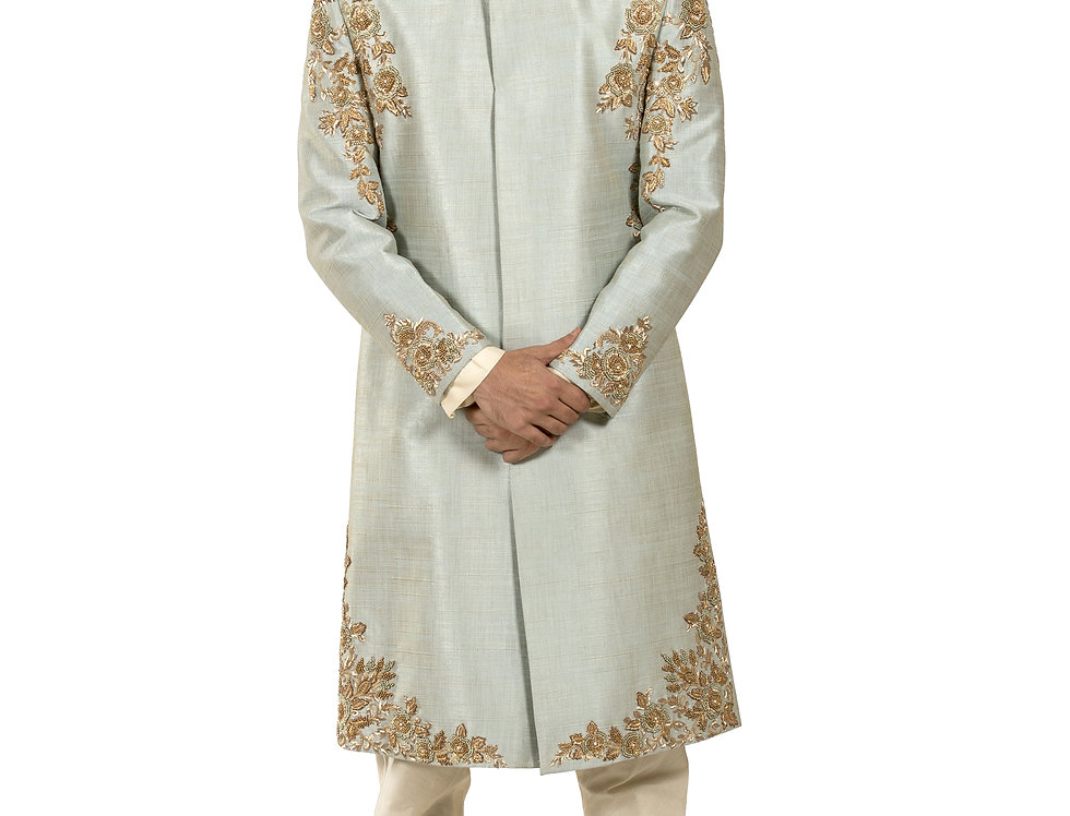 Aqua Base Dupion Sherwani with Embroidery & Churidar (Style Code: 2363830)