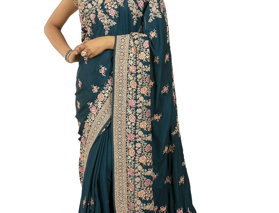 Peacock Base Satin Georgette Designer Saree with Blouse (Style Code: 2389800)