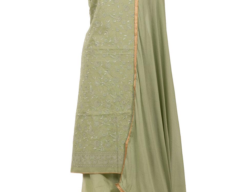 Pista Green Base Cotton Unstitched Suit Salwar & Dupatta (Style Code: 2382254)