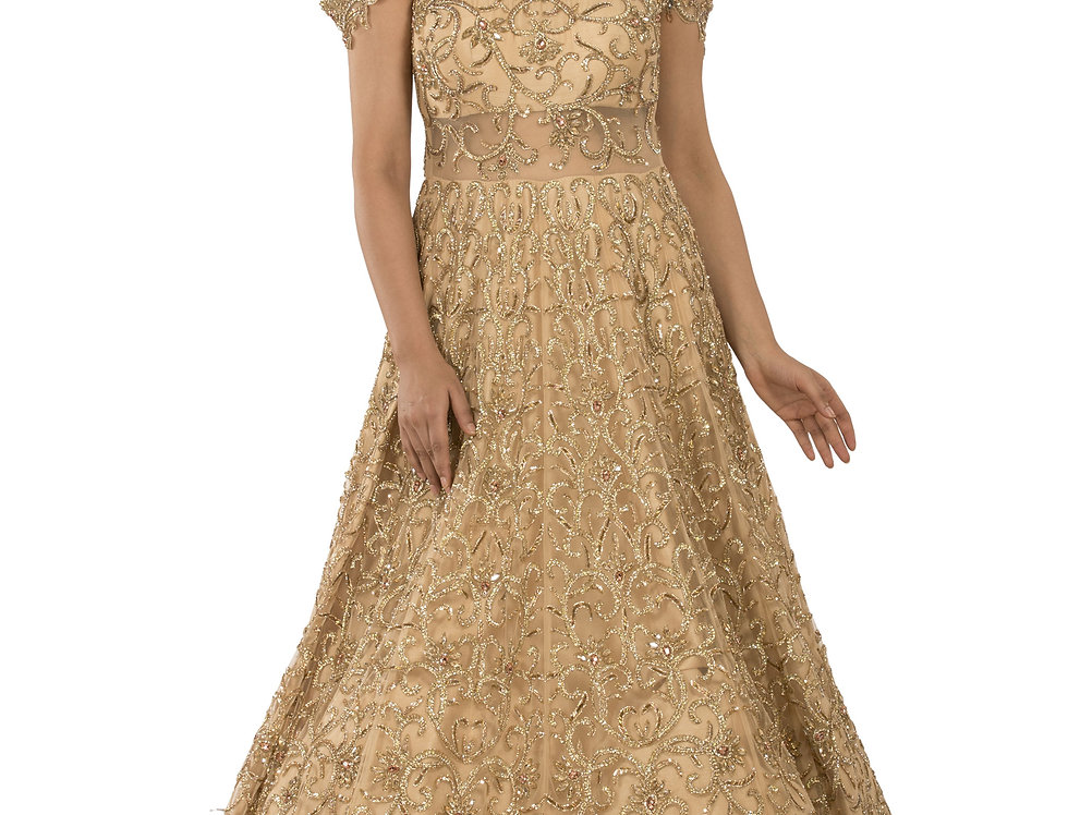Gold Party Wear Gown with Self Crystal & Stone Work (Style Code: 2381711)