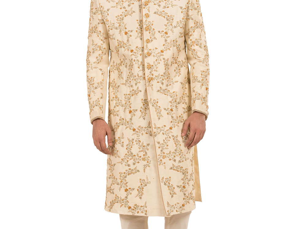 Light Gold Base Dupion Sherwani with Embroidery & Churidar(Style Code: 2300814)