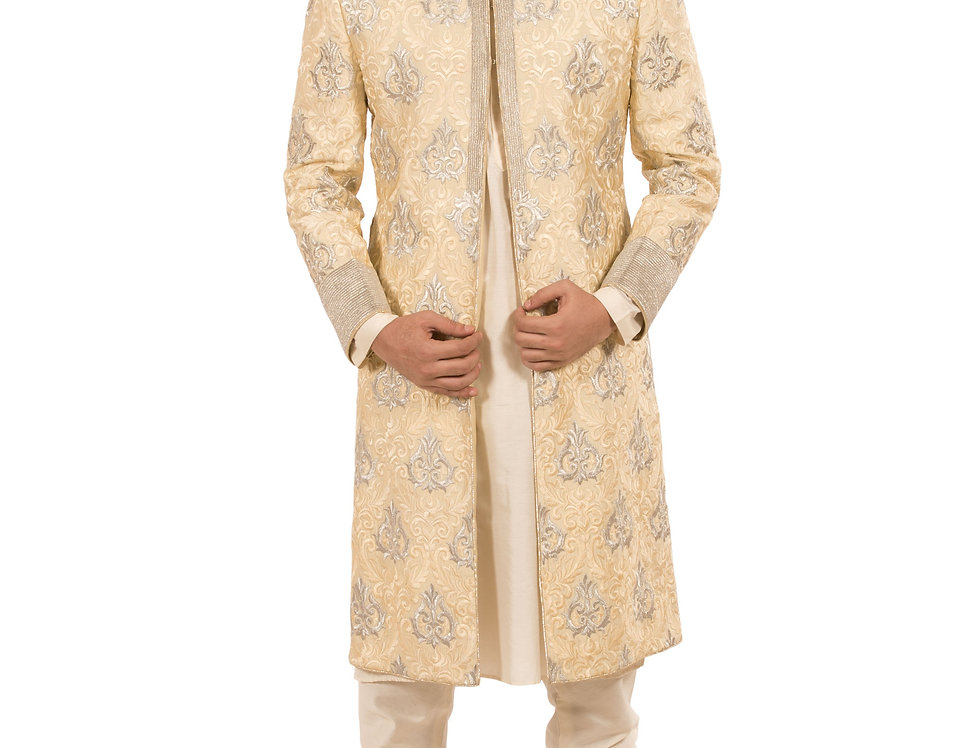 Cream Base Dupion Sherwani with Embroidery & Churidar (Style Code: 1500487)