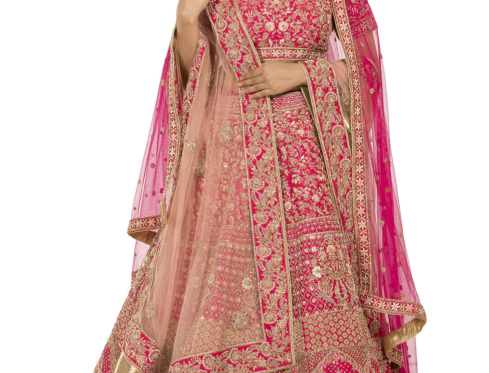 Magenta Silk Bridal Lehenga with Two Separate Dupattas (Style Code: 2377107)