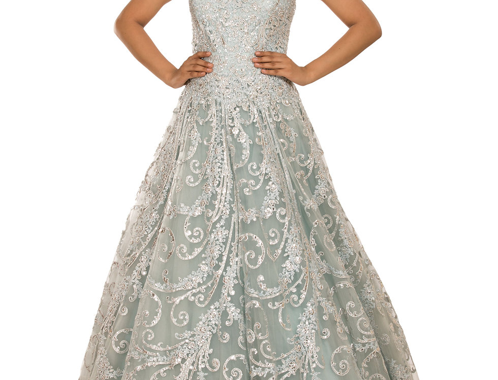 Aqua Blue Party Gown with Silver Applique Work (Style Code: 2344737)