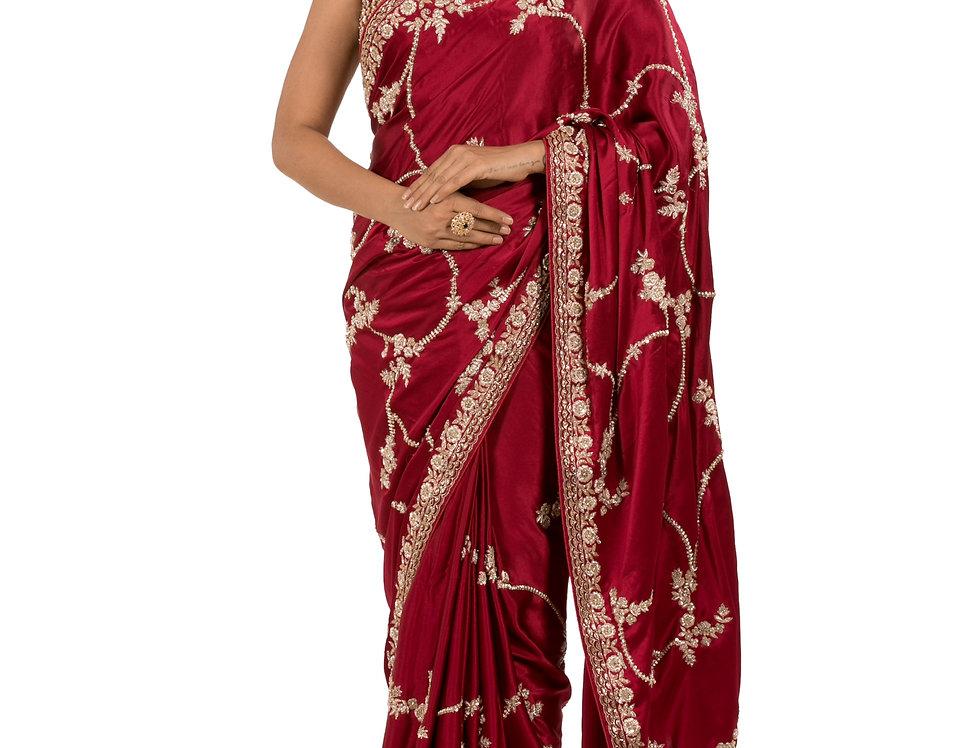 Maroon Base Satin Designer Saree with Satin Blouse (Style Code: 2345550)