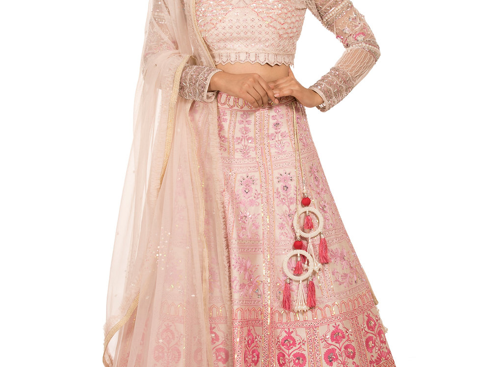 Ivory Party Wear Lehenga with Pink Shaded Thread work (Style Code: 2371888)