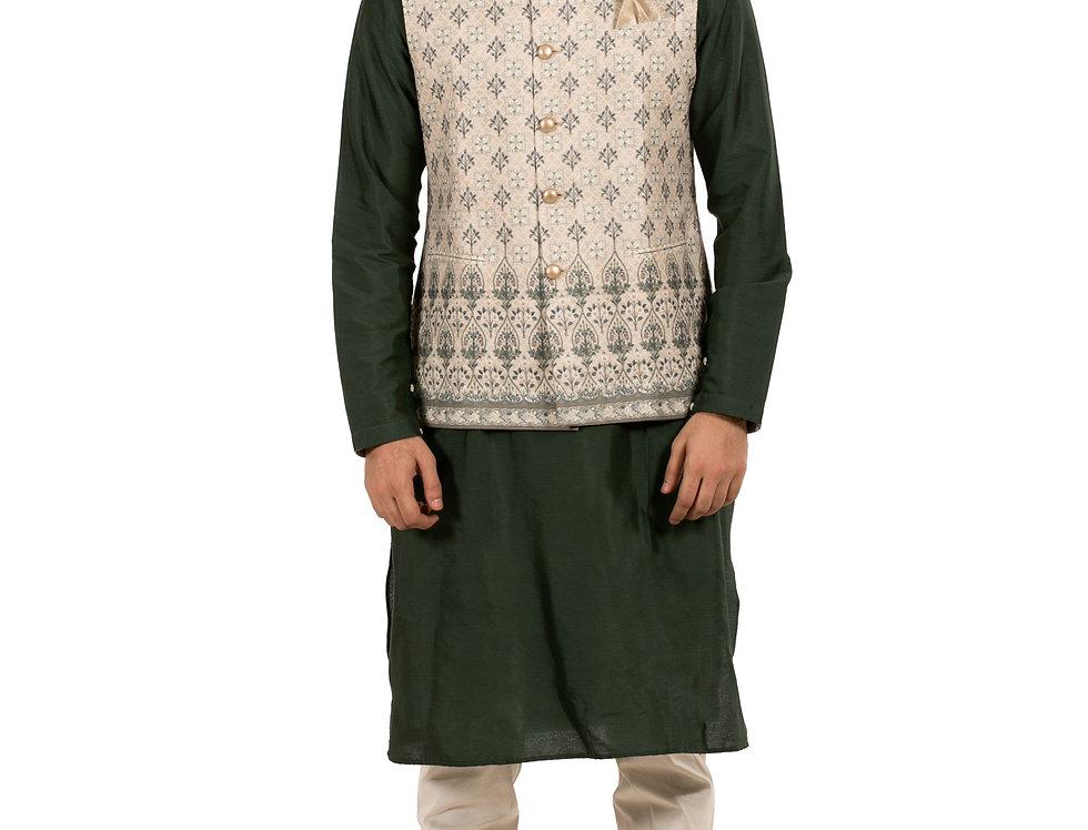 Mehendi Green Silk Kurta Pajama with Dupion Waist Coat (Style Code: 2386673)