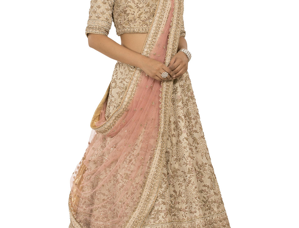 Champagne Gold Tissue Silk Lehenga with Light Pink Dupatta (Style Code:2240335)