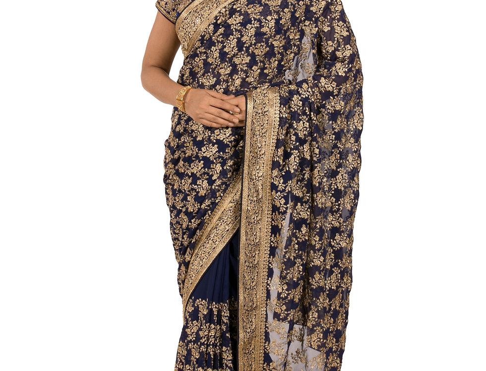 Navy Blue Georgette Designer Saree with Zari Work & Blouse (Style Code: 2387141)