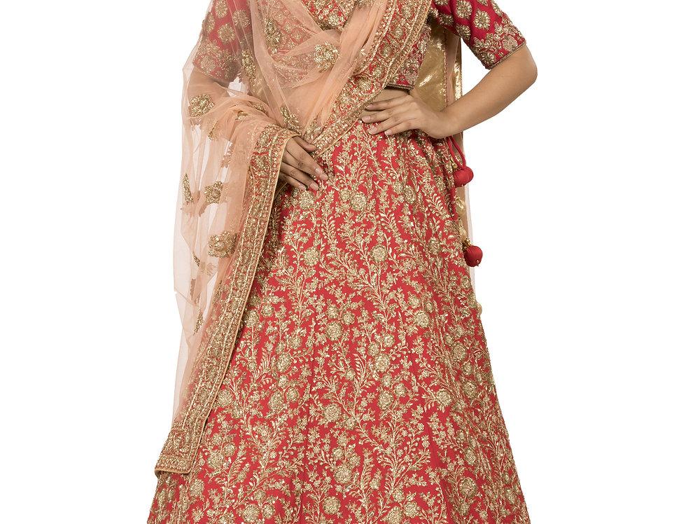 Red Base Silk Zardozi Work Bridal Lehenga with Dupatta (Style Code: 2376591)