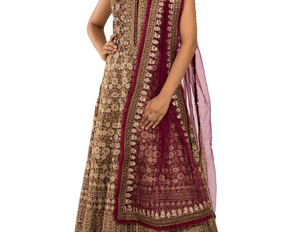 Brown & Burgundy Silk Embroidered Anarkali Suit & Dupatta (Style Code: 2386967)