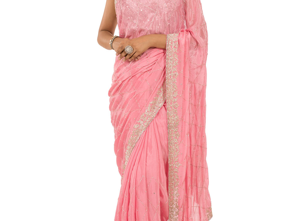 Pink Base Chunon Saree with Cut Dana Work & Blouse (Style Code: 2374229)