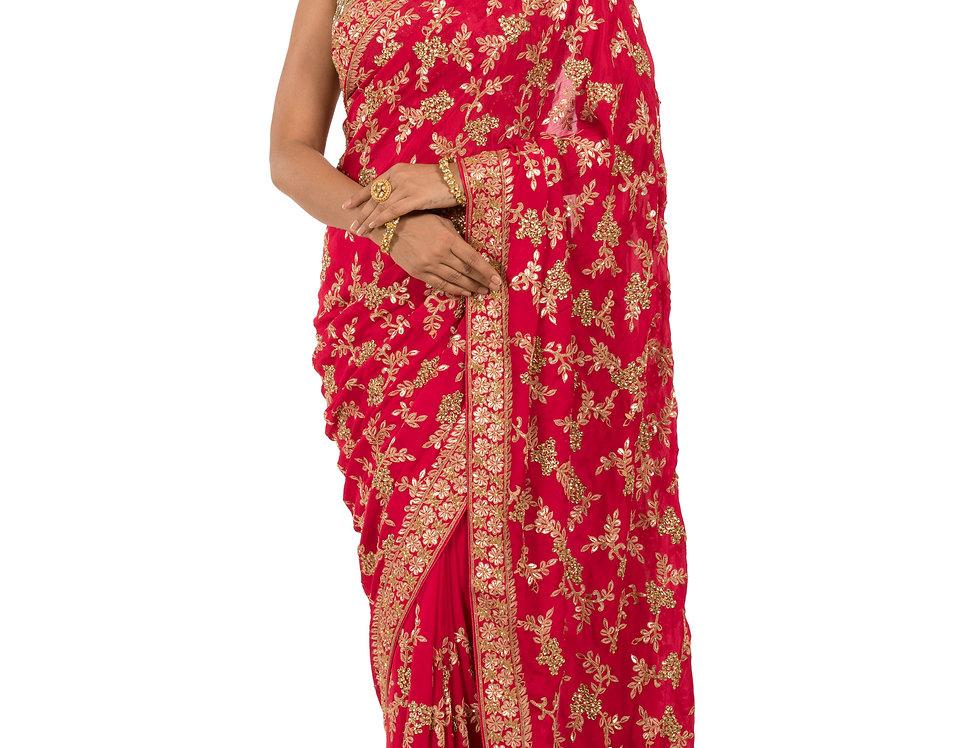 Red Base Chunon Saree with Gota & Kundan Work & Blouse (Style Code: 2313118)