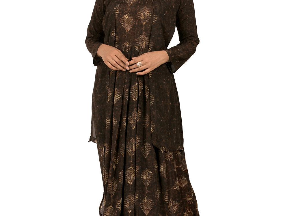 Brown Base Georgette Indo-Western Printed Long Kurti (Style Code: 2278872)