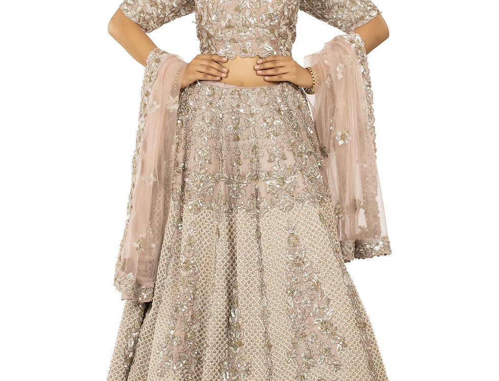 Light Mauve Lehenga with Pearl Crystal & Sequence Work (Style Code: 2378331)