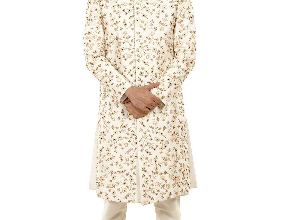 Cream Dupion Sherwani with French Knot Sequence Work (Style Code: 2348162)