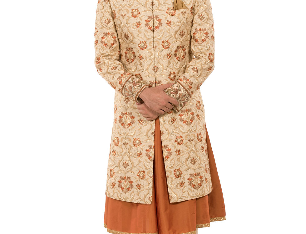 Gold & Rust Base Dupion Sherwani Sequence with Resham Work (Style Code:2260303)