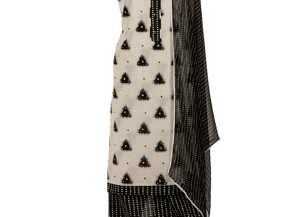 White & Black Cotton Unstitched Suit Salwar & Dupatta (Style Code: 2349792)