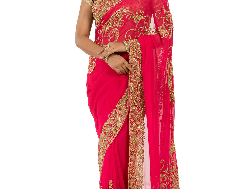 Fuchsia Base Georgette Designer Saree with Blouse (Style Code: 2386904)
