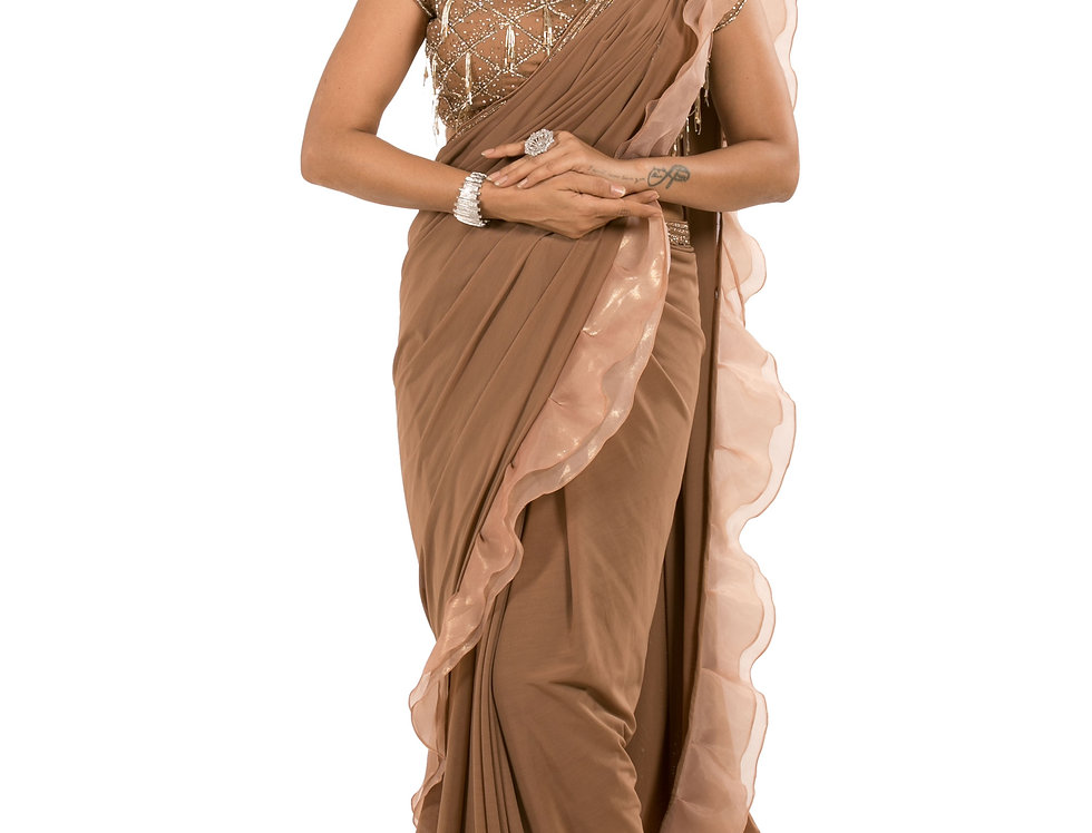 Brown Lycra Designer Pre-Draped Saree with Blouse (Style Code: 2385377)