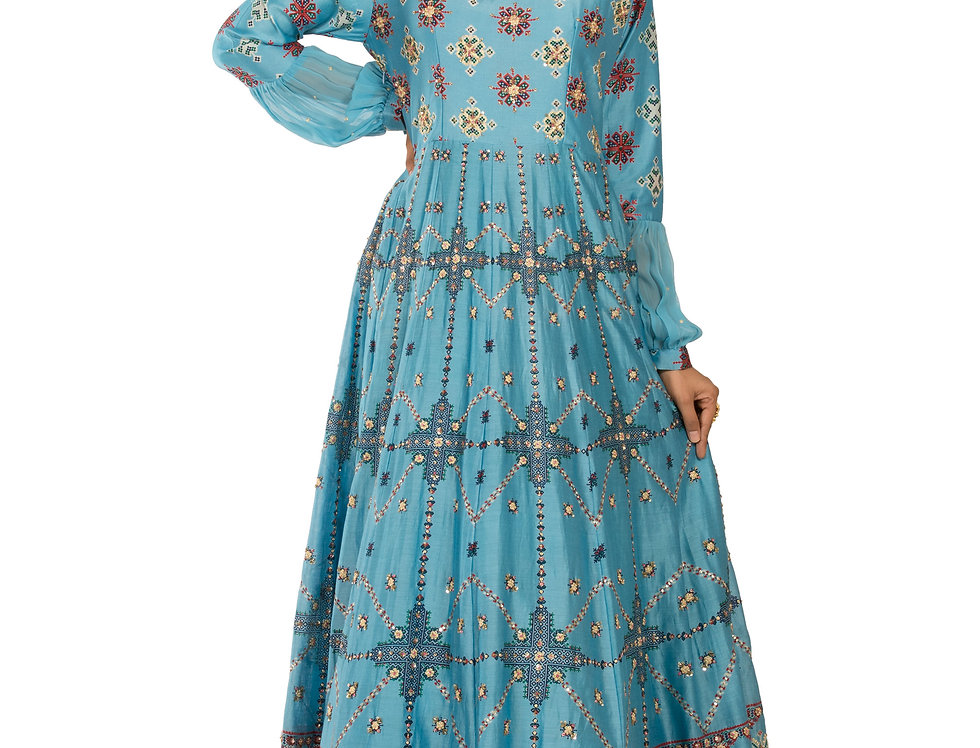 Light Blue Base Chanderi Silk Gown with Embroidery Work (Style Code: 2372180)