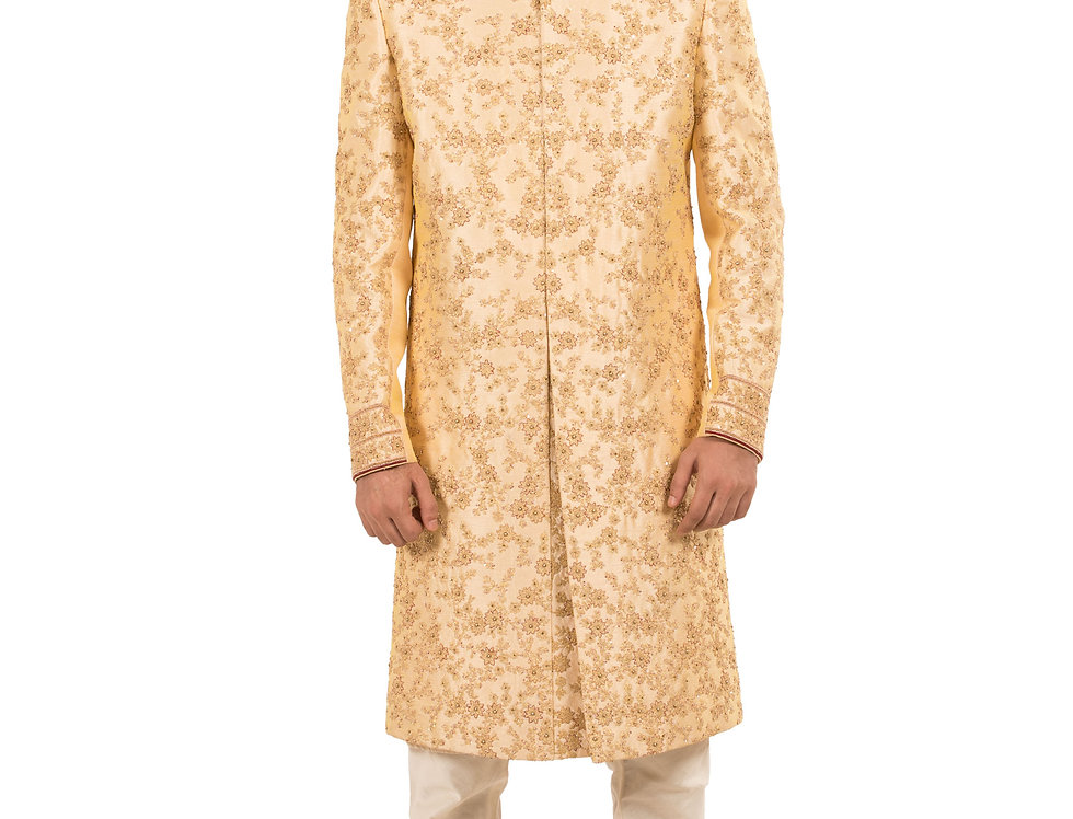 Light Gold Base Dupion Sherwani with Embroidery & Churidar(Style Code: 2363942)