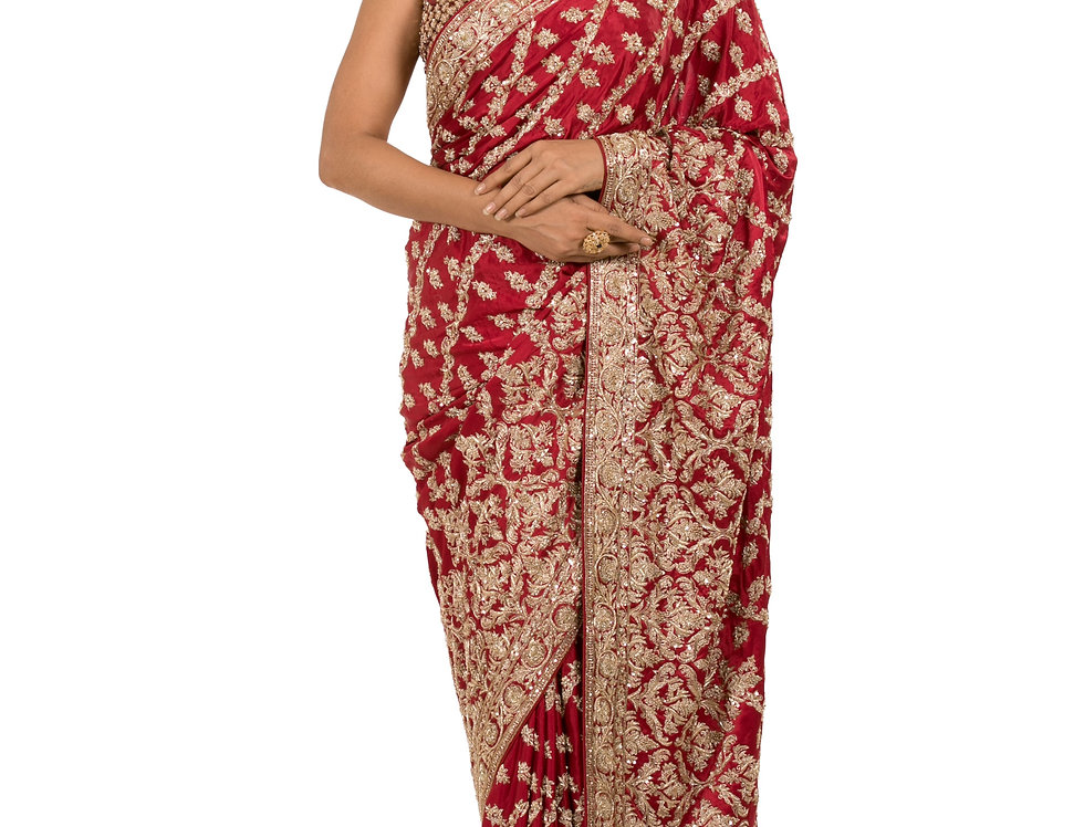 Maroon Base Satin Designer Saree with Blouse (Style Code: 2262602)
