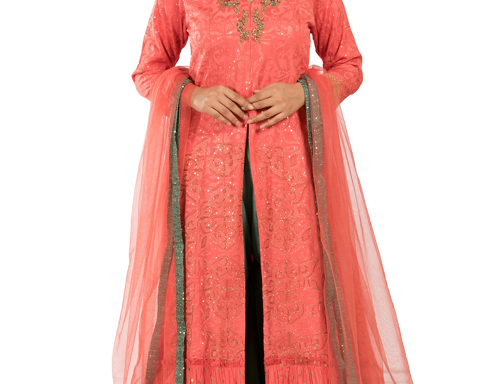 Peach & Pista Green Readymade Suit with Palazzo & Dupatta (Style Code: 2373656)