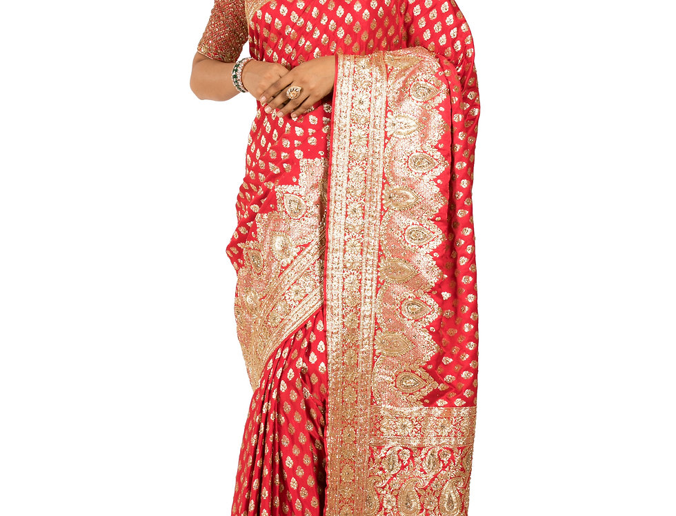 Red Base Silk Designer Saree with Zari Work & Blouse (Style Code:2387132)