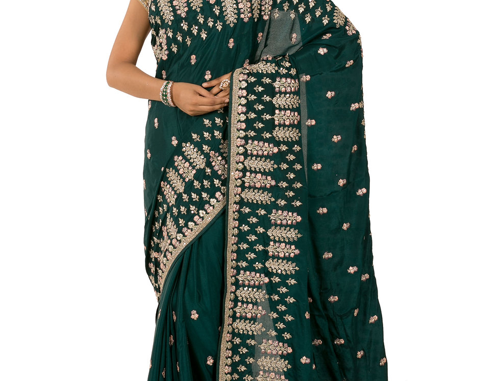 Turquoise Blue Georgette Designer Saree with Blouse (Style Code: 2389796)
