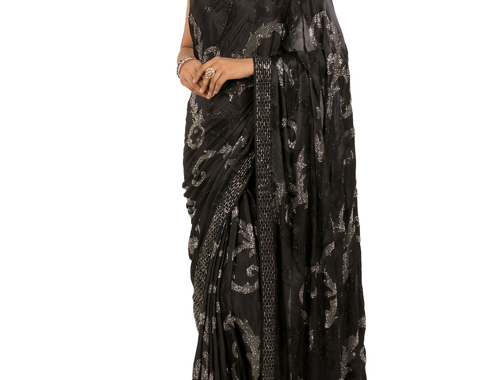 Black Base Satin Designer Saree with a Georgette Blouse (Style Code: 2268010)