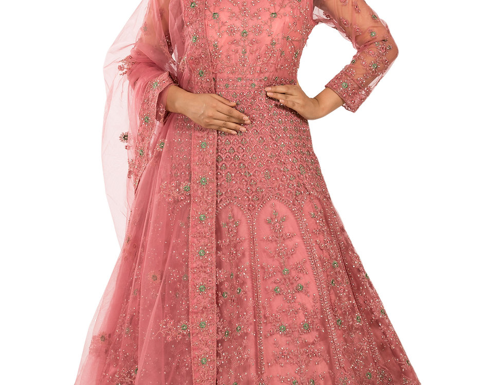 Dark Pink Anarkali Suit with Embroidery Work & Dupatta (Style Code: 2378019)