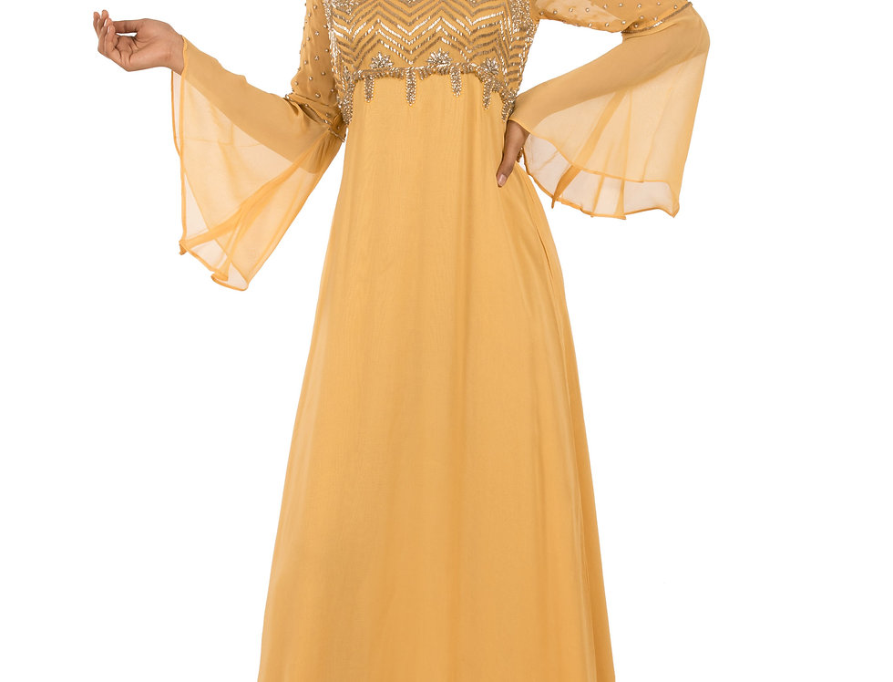 Yellow Gold Georgette Gown with Embroidery Work (Style Code: 2372891)