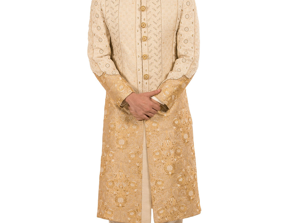 Gold to Cream Shaded Sherwani with Embroidery & Churidar (Style Code: 2245536)