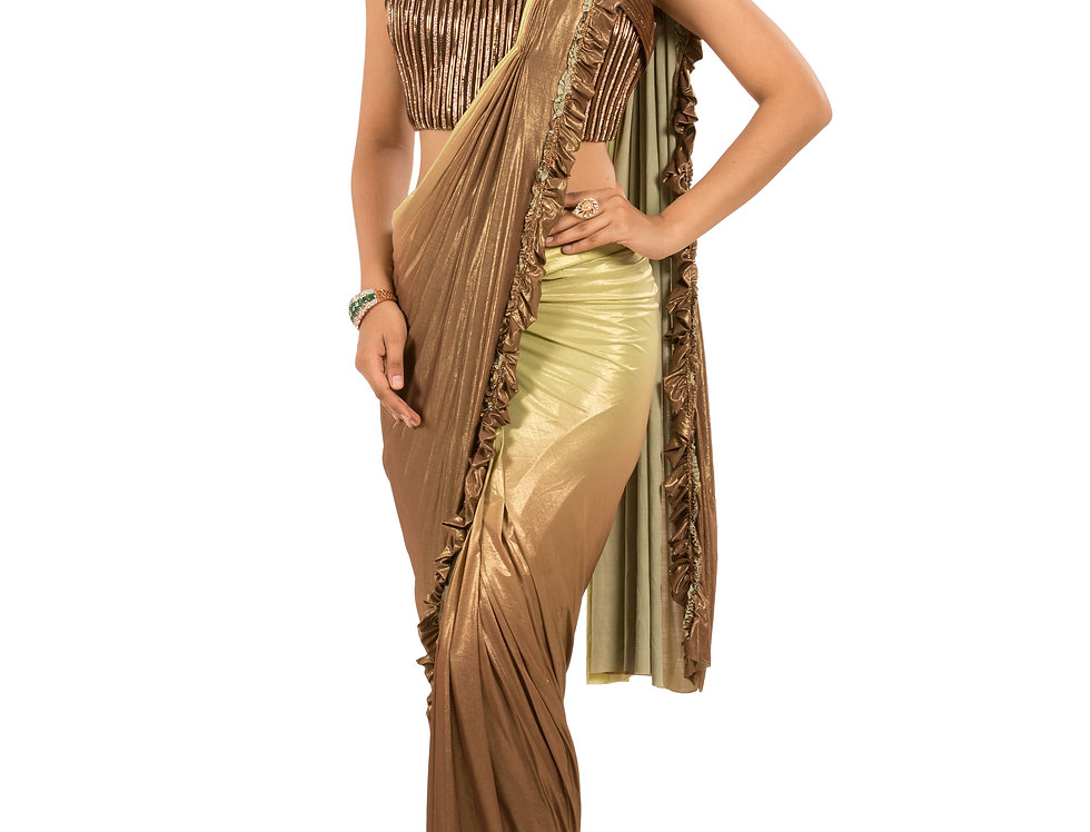 Green to Brown Shaded Lycra Stitch Draped Saree & Blouse (Style Code: 2390802)