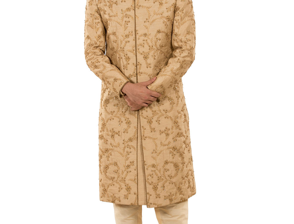 Beige Base Dupion Sherwani with Sequence Work (Style Code: 2378339)