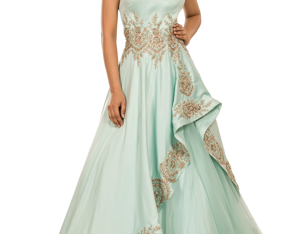 Aqua Blue Satin Long Cape Dress with Net Skirt (Style Code: 2315543)