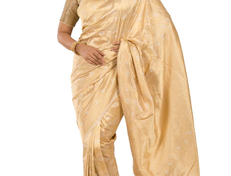 Gold Base Silk Designer Zari Work Saree & Blouse (Style Code: 2376457)