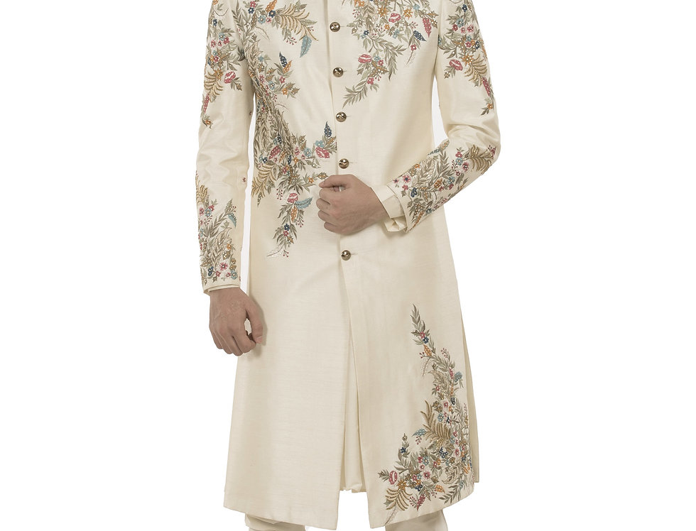 Cream Base Dupion Sherwani with Resham & Thread Work (Style Code: 2378337)