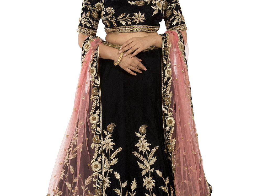 Blue Velvet Lehenga with Gold Zari Work with Dupatta (Style Code: 2375798)