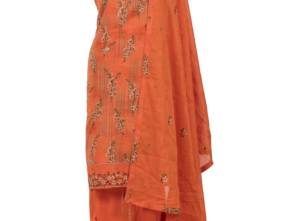 Orange Base Cotton Unstitched Suit Salwar & Dupatta (Style Code: 2384134)