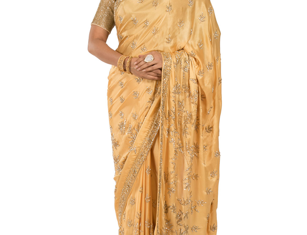 Gold Base Pure Satin Designer Saree with Blouse (Style Code: 2314350)