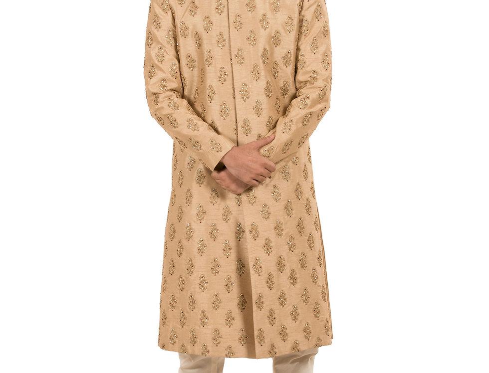Biege Base Dupiom Sherwani with Embroidery & Churidar (Style Code:2359548)
