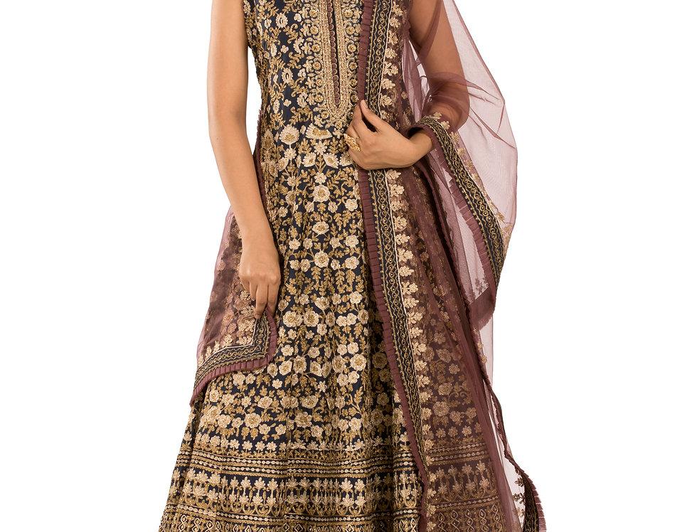 Dark Blue Base Silk Anarkali Suit with Dupatta (Style Code: 2386968)