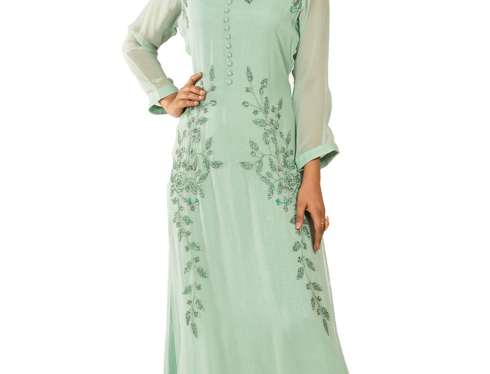 Light Green Base Georgette Gown with Embroidery Work (Style Code: 2343464)