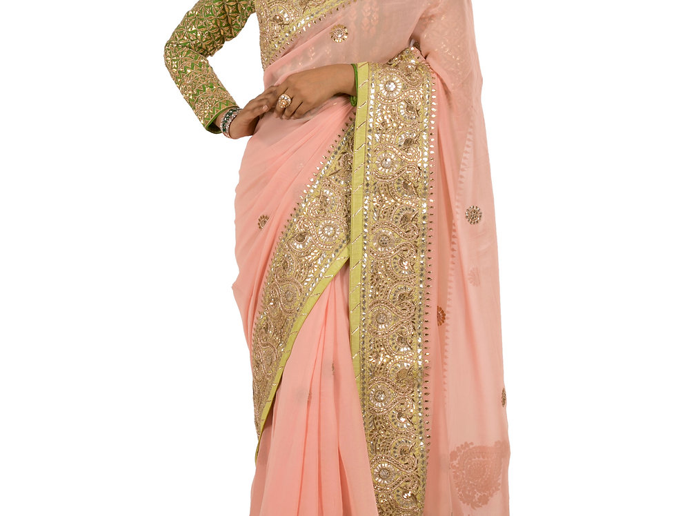 Pink Georgette Designer Saree with Green Border & Blouse (Style Code: 2278934)