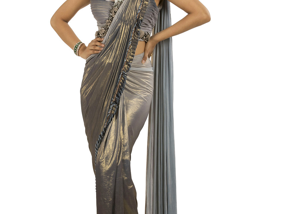 Grey shaded Lycra Designer Stitch Draped Saree with Blouse (Style Code: 2390804)